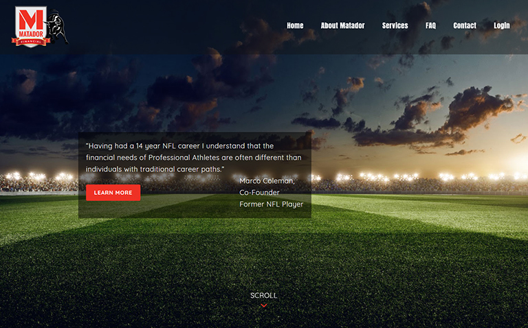 Professional Sports Financial Planning Website Design Company Jacksonville FL